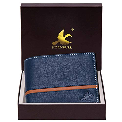 Hornbull Denial Navy Mens Leather Wallet and Premium Quality Leather Wallet for Mens with RFID Blocking Mens Wallet