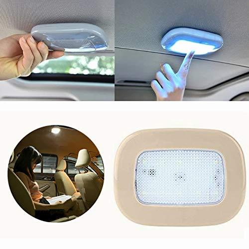 Auto Deckenleuchte Dach Lichter, Kabellose LED-Innen Leselicht mit Magnetisch Suck für Auto Universal USB Aufladbar Auto Back Licht, Beige shell, Weiß Licht von Hmjunboys