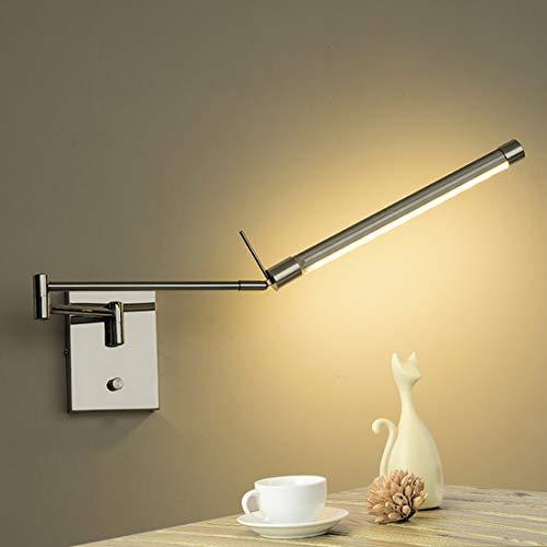 LED Aplique de pared con interruptor, luz de lectura regulable, Rectangular Brazo largo giratorio de metal 75cm, moderna lámpara de pared para dormitorio, Lámpara de noche, foco de pared sala de estar