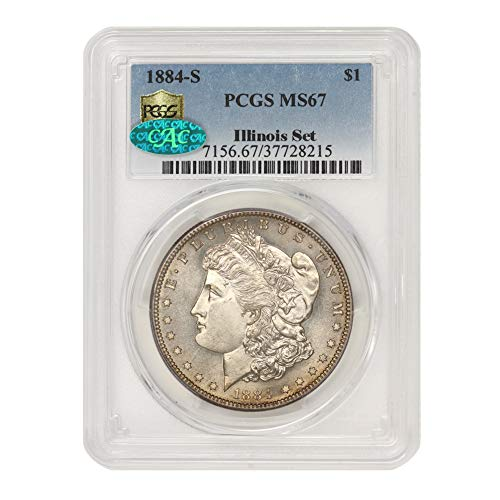 1884 S American Silver Morgan Dollar MS-67 Illinois Set by CoinFolio $1 MS67 PCGS/CAC