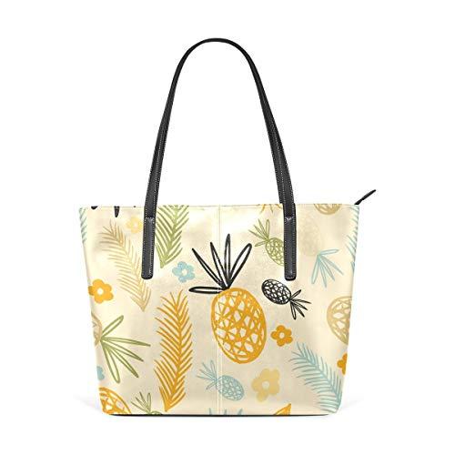 XGBags Custom Borsa a tracolla in pelle PU da donna Pieapple Leaves Pattern Womens Purse PU Leather Shoulder Tote Bag