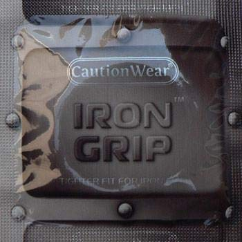 Caution Wear Iron Grip Snugger Fitting Lubricated Latex Condoms, with Travel Case - (Pack of 24 Condoms)