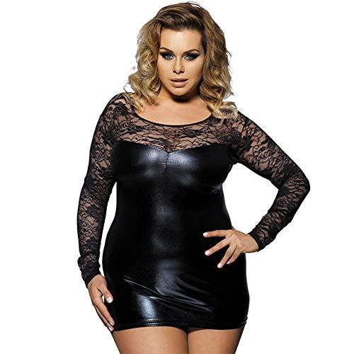 Yzwen Sexy Kostüm Erotik Kostüm Mini Babydoll Kleid Plus Size 6XL Schwarz Kunstleder Babydolls Sexy Dessous,Schwarz,M