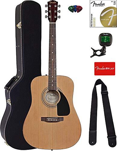 Fender FA-100 Dreadnought Acoustic Guitar - Natural Bundle with Hard Case,...