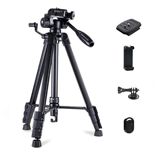 Phinistec 175cm Aluminium Dreibein Stativ Kamera für Handy, iPhone, DSLR, Gopro mit Smartphone Halterung und Gopro Adapter mit Tragetasche (Schwarz)