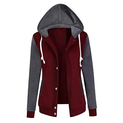 Kapuzenjacke Kapuzenpullover Damen WWricotta Frauen Langarm Tunika Herbst Winter Mantel Baseball Jacke Outwear Sweatjacke Sweatshirtjacke
