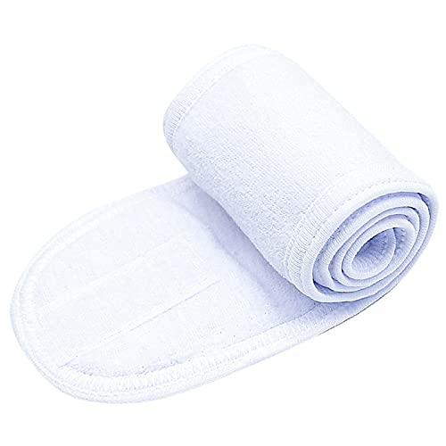 Yuncheng SPA Facial Head Headband-Ultra Soft Terry Paño de Terry Make Up Wrap Toalla de Estiramiento con Cinta mágica para la Cara Lavado, Ducha, Yoga (Color : White)