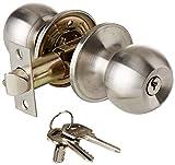 Satin Stainless Steel Door Knob Set - Entrance (Key Locking)