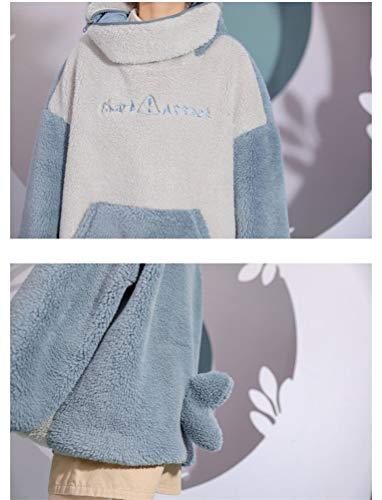 SIPEIEN Women Fluffy Hoodie Sweatshirt Cute Shark Oversized Super Soft Big Hoody Fit for Men Women Teens Blue L