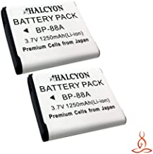 Two Halcyon 1250 mAH Lithium Ion Replacement Battery for Samsung DV300F Digital DualView Camera and Samsung BP-88A
