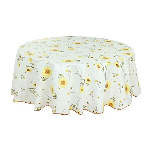 uxcell Seamless Water Vinyl Round Tablecloth 71' Dia for Wedding/Restaurant/Parties Tablecloth Decoration Yellow Flower Pattern Floral Printed