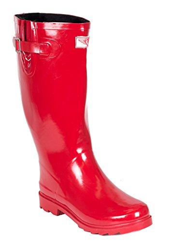 Women Rubber Rain Boots, Faux Fur Lining, Red, 10