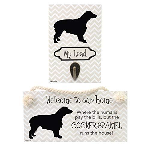 Precious Pets Hundeschild und Hundeleinenhaken, Cocker Spaniel, lustige Schilder, Geschenk für Mütter, Hundezubehör, Hauskleidung.