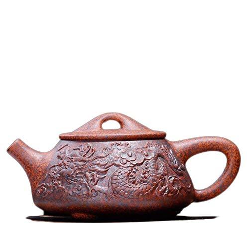 ADSE Tetera China Taza de té de dragón Tetera de Arcilla Morada Leña Artesanía Tetera de Piedra de Alivio de dragón Tetera (Color: Barro Morado)
