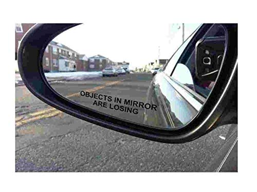 BERRYZILLA (Pair) Objects in Mirror are Losing Decal Black Etched Glass Funny Sticker