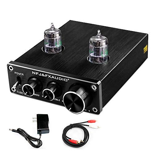 FX AUDIO Home Audio GE5654 Tube Preamp—Upgrade Electronic Hi-Fi Stereo Vacuum Tube Preamplifier with Bass & Treble Control with DC12V Power Supply(Black)