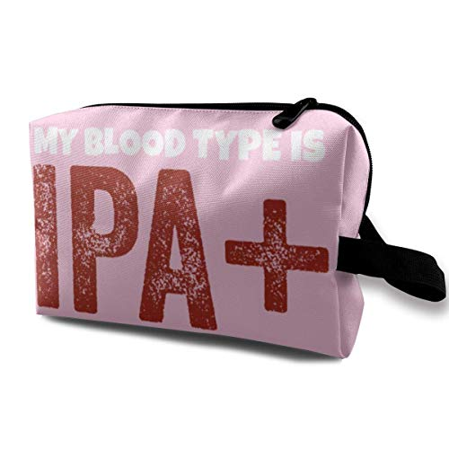 My Blood Type is IPA Travelling Makeup Bag Cosmetic Bag Zipper
