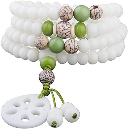 PPQKKYD Collar White Jade Bodhi Multicapa 108 Collar de Cuentas Moda Budista Yoga Joyería Hombres y Mujeres