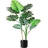 Fopamtri Planta Artificial Grande Decorativas Monstera Deliciosa Hawaiian Tropic Palma Plantas Artificial Altura 110cm para Hogar Oficina Jardín Boda Planta Falsa Decoración(1PACK)