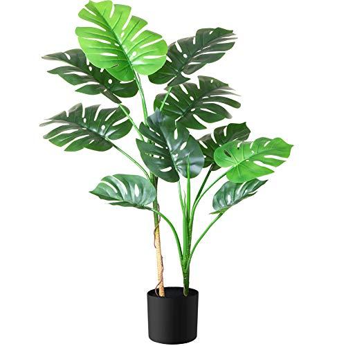 Fopamtri Planta Artificial Grande Decorativas Monstera Deliciosa Hawaiian Tropic Palma Plantas...
