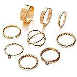 Shining Diva Fashion Set of 9 Boho Midi Finger Ring for Girls (Golden)