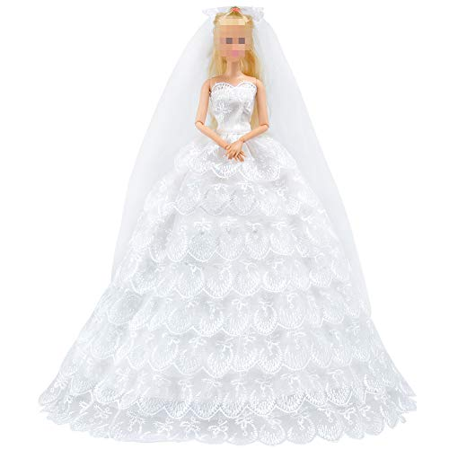 E-TING Princess Doll Wedding Gown Dress Lace Floral Dress Embroidery Barbie Clothes Cinderella Evening Party Outfit Set + Veil Set For Barbie Doll---Best Gift for your girls