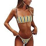 Bañadores Bikini con Tirantes Conjuntos 2 Piezas de Mujer Set Bikini sin Espalda Conjunto Bikini Brasileño Bikini Set Moderno (Rayas, S)