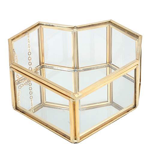 Glazen plantenbak, moderne artistieke hartvormige glazen bloempot, succulenten Geometrisch terrarium, met schommeldeksel, vensterbank vensterbankdecor thuis, (geen planten)