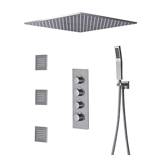 JiaYouJia 20'' Thermostatic Rain Shower System Flush Mount Shower Combo Set with Hand Spray & Body Jets Bathroom Shower Faucet in Brushed Nickel