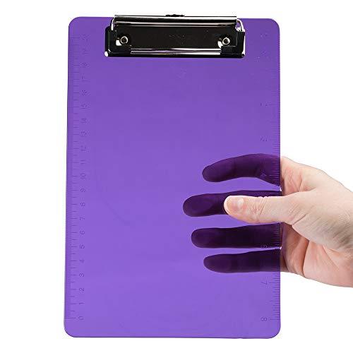 JAM PAPER Small Plastic Memo Clipboards with Low Profile Metal Clip - Mini (6 x 9) - Purple - Clip Board Sold Individually