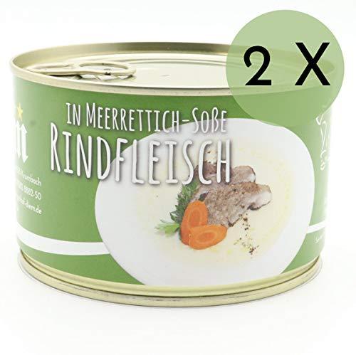 2 X Konserve Diem 400g Rindfleisch in Meerrettichsoße - wie gekochter Tafelspitz - Meerrettich Soße - 240g Fleisch aus der Semmerrolle je Konserve - lange haltbar ( 14,88 / Kg )