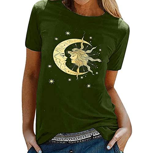 Camiseta feminina com estampa de sol e lua cristã de fé para mulheres tamanho grande, vintage, de manga curta, camisetas estampadas casuais, B - verde, 3XL