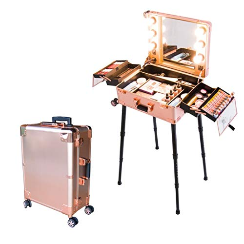 Floreo Star Beauty Case Trolley con luci e Specchio per Trucco Make up (Oro)