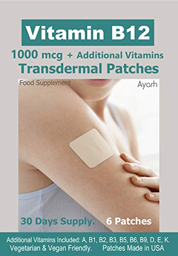 Vitamin B12-1000mcg Plus Additional Vitamins - Transdermal Patches. 100% Natural Ingredients. Vegetarian & Vegan Friendly. Patches Made in USA. 30 Days Supply. 6 Patches.
