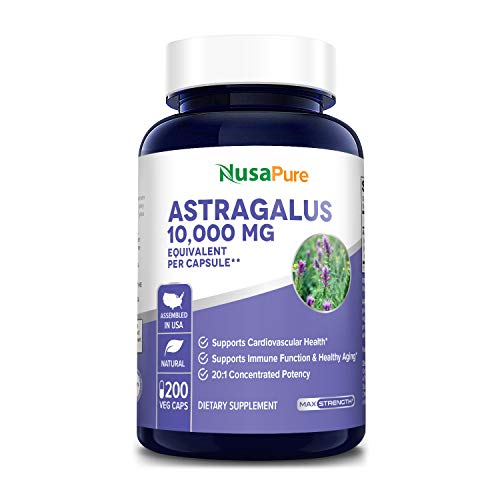 Astragalus 10000 mg Per Caps 200 Veggie Capsules (Vegetarian, Non-GMO & Gluten-Free) Max Strength - Supports Cardiovascular Health and Healthy Immune Function*