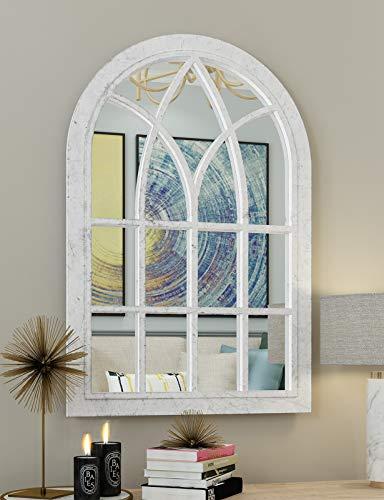 "COGOOD Arched Windowpane Wall Mirror White - Wall Mirror Decorative Farmhouse with Plastic Frame for Living Room Balcony Livingroom Washroom 36""x24"""