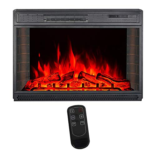 Warmiehomy 26 Inch Electric Fireplace Wall Mounted Electrical Heater with Remote Control, LED 3 Flame Colour Effect, Temperature Adjustment, 220V-240V/50Hz, 900W/1800W for Living Room Bedroom, Black