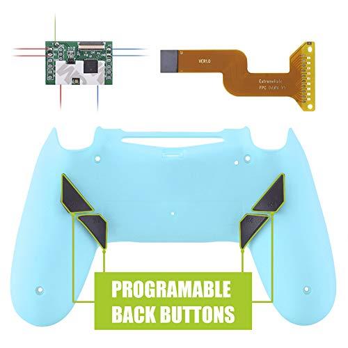 eXtremeRate Dawn Programmierbares Remap Kit für PS4 Controller mit rückseiter Hülle Case Gehäuse&Mod-Chip&4 Rückseiten Tasten-für Playstation 4 Controller JDM 040/050/055(Himmelsblau)