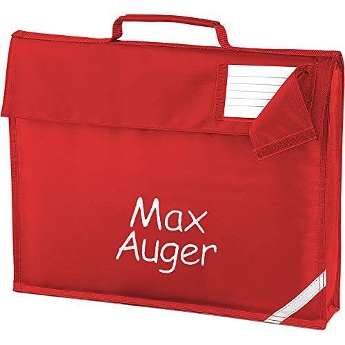 Personalised Embroidered Name School Book Document Satchel Bag (Red)