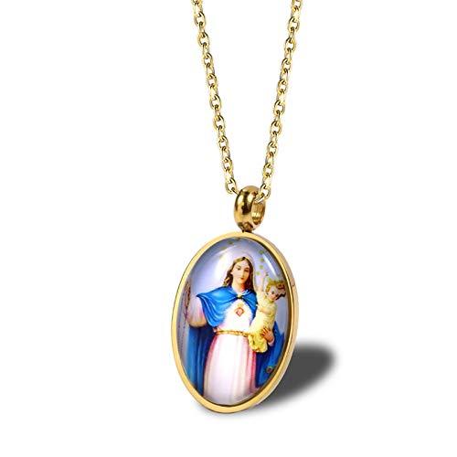 Daesar Collar Mujer Virgen María Jesús Colgante Acero Inoxidable Mujer Colgantes Mujer...