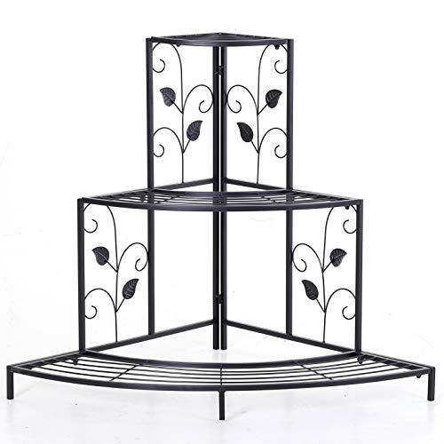 Outsunny Pflanzenregal, Dreistufiger Blumenstand mit Schwerfwerk Design, Blumentreppe, Displaystand, Metall Schwarz 106 x 76 x 86 cm