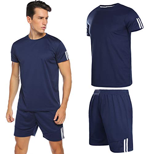 Hawiton Sportswear Herren Set Kurzarm Trikot Männer Jersey Fußball Set Schnell Trocknend Laufendes T-Shirt Trainingskleidung, Farbe: Navy Blue, Gr.L