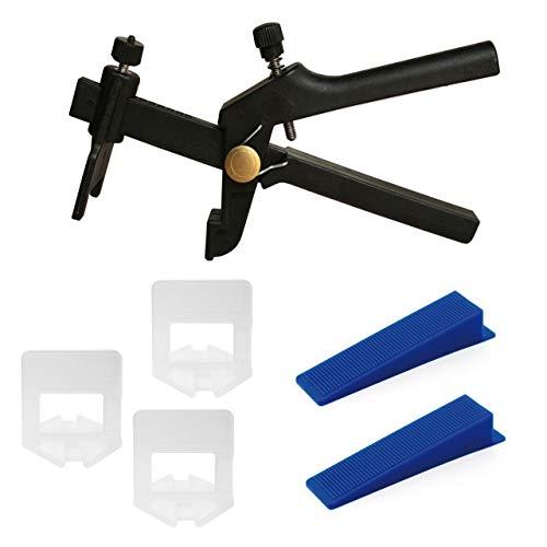 Lantelme Fliesen Nivelliersystem Set mit 1,5 mm Fuge 100 Zuglaschen und 50 Keile und 1 Stück Zange Verlegehilfe 5096