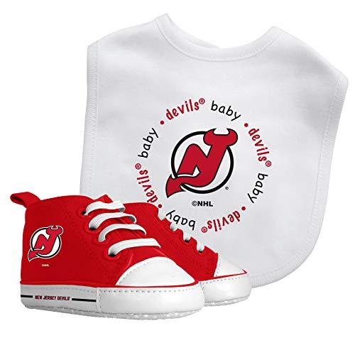 Baby Fanatic NHL Legacy Infant Gift Set, New Jersey Devils Alternate, 2Piece Set (Bib & PRE-Walkers)