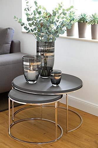 Fink Riva Windlicht, Glas, Silber, 11cm