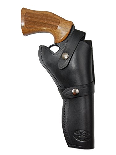 Barsony New Black Leather Western Style Gun Holster for Taurus 608 Right