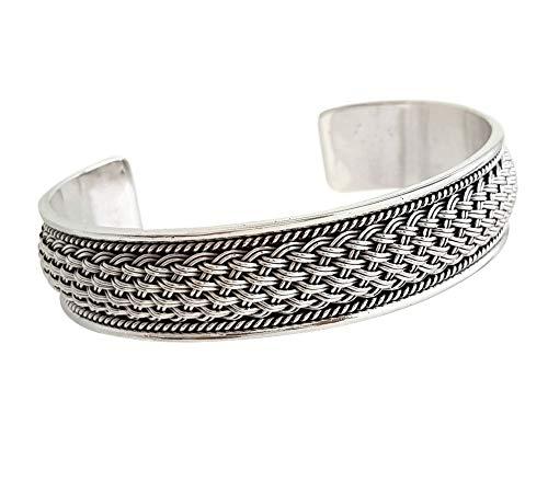 TreasureBay Statement Herren Silber Armreif Armreifen Armreif Manschette aus massivem 925 Sterling Silber