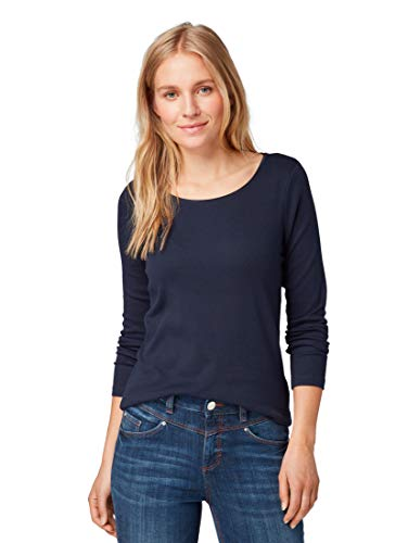 TOM TAILOR Damen T-Shirts/Tops Basic Langarmshirt Sky Captain Blue,L