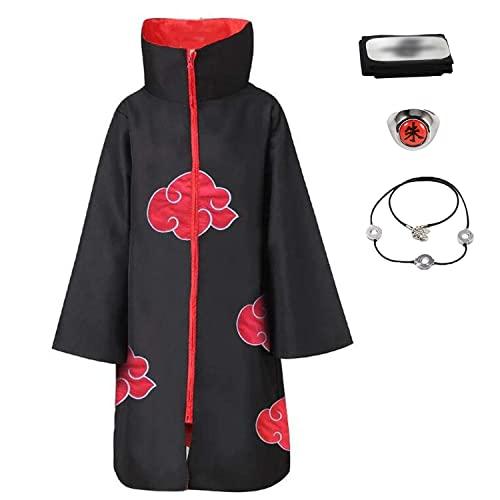 D.F.L Trajes de Akatsuki Halloween Cosplay Disfraces Capa Larga Cosplay de los Akatsukis Itachi Vestido Akatsuki Cinta de Cabeza Venda para Cosplay Itachi Uchiha (S)