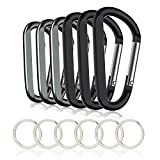 6PCS Carabiner Caribeaner Clip,3' Large Aluminum D Ring Shape Carabeaner with 6PCS Keyring Keychain Hook (Black + Grey)